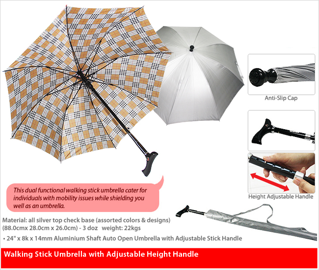 585MBA/A/ST-A - 24 Inches Walking Stick Umbrella (Adjustable Handle)