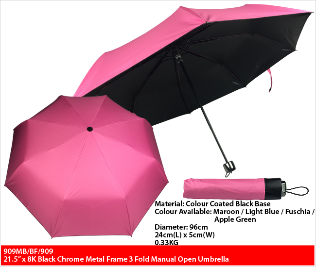 909MB/BF/909 - 21.5 Inches Metal Frame 3 Fold Manual Open Umbrella