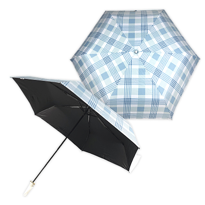 AFG8866 - Supreme UV Protection Foldable Umbrella with Carrier Bag (Blue Checked)