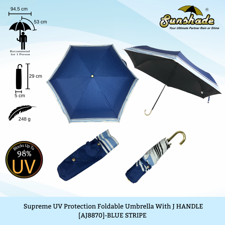 AJ8870 - Supreme UV Protection Foldable Umbrella with J Handle