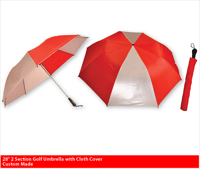 "28"" 2 Section Golf Umbrella with Cloth Cover - Custom Made Golf Umbrella"