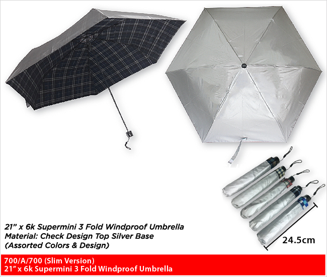 700/A/700 (Slim Version)  - 3 Fold Windproof Umbrella